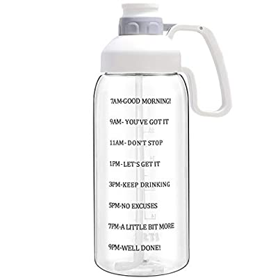 Water Bottle with Straw 64 oz Water Bottle with Time Marker & Motivational Quote to Keep All-day Track, White Large Water Bottle with Wide Mouth for Fruit Infused, Big Water Bottles with Big Handle
