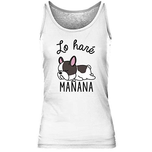 Bulldog francés | Lo haré Mañana | Camiseta sin Mangas para Mujer M