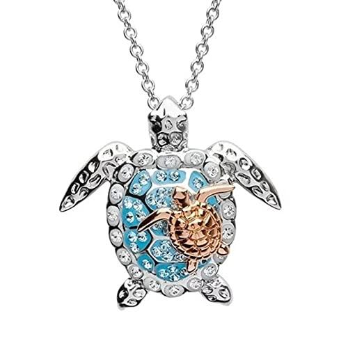 Collar de animales con diamantes de imitación para padres y niños, aleación de tortuga de mar, colgante de cuello, joyería de graduación para estudiantes