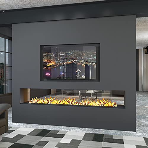 muenkel Design - Caminetto elettrico Opti-Myst senza riscaldamento / legno decorativo, larghezza 1100 mm, senza vetro e collegamento esterno per l'acqua