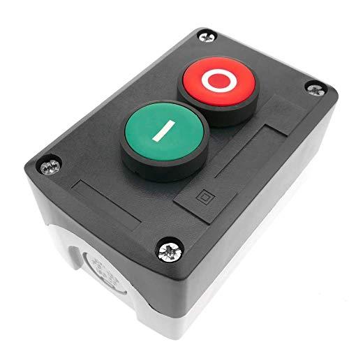 BeMatik - Caja de control gris/negro con 2 pulsadores momentáneos verde 1NO rojo 1NC con símbolos