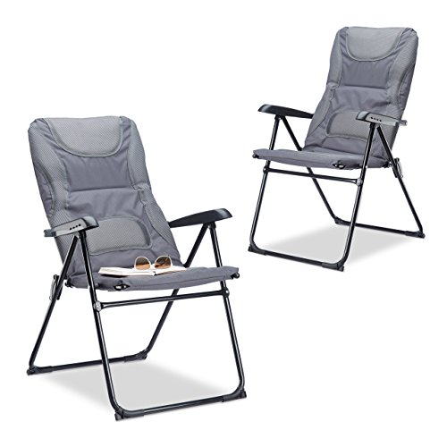 Relaxdays Campingstuhl gepolstert COMFORT, verstellbar, 2 Stufen, Anglerstuhl klappbar, HBT: 107 x 60 x 68 cm, grau