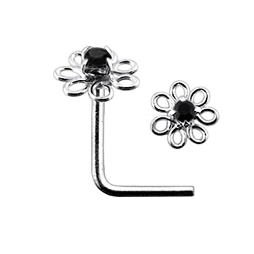 Schwarze filigrane Blume Crystal Stein 22 Gauge 925 Sterling Silber L Bend Nase Piercing