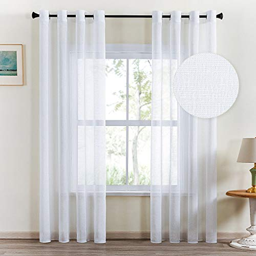Topfinel Lot de 2 Rideaux Voilage Blanc 140x240cm en Lin Imitation à Oeillets Voilage de Fenêtre avec Motif de Croix Décoratif Salon Chambre Adult Enfant Cusine