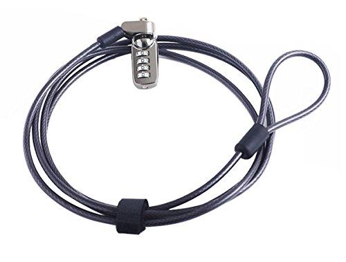 CaLeQi Cable de Seguridad con Cerradura de Combinación para Ordenador portátil, Ordenador, Monitor LCD, 2 m de Cable Negro (Bloqueo de Computadora)