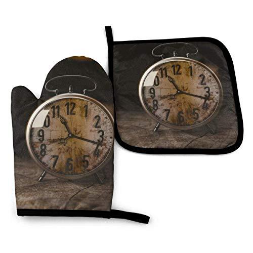Reloj de pared Horno mitones y soporte para ollas, forro de algodón suave con superficie antideslizante, guantes de cocina resistentes al calor para cocinar, hornear
