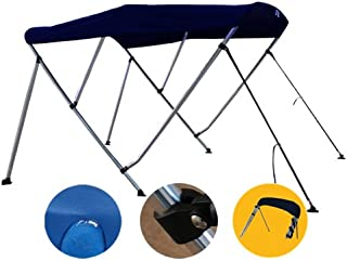 Brightent Navy Blue Bimini Top Have Free Clips 73''-78'' Width 3 Bow Boat Canopy Cover 6 ft Long Support Poles XB3N3