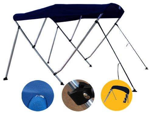 """Brightent Navy Blue Bimini Top 6 Different Size 3-4 Bow Boat Canopy Cover with Free Support Poles and Towel Clips (4 Bow L8'/W91-96""""/H54 XB4N3)"""