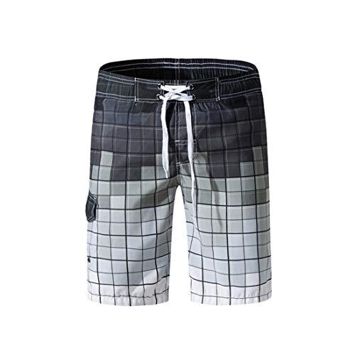 Ophestin Chubbies Herren Badehose – Farbverlauf Strand Shorts mit Netzfutter, schnell trocknend - Grau - Groß