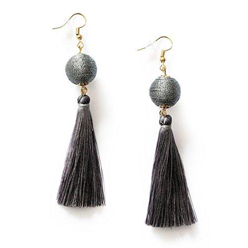 MHZ JEWELS Grey Tassel Ball Drop Earrings for Women Girls Long Dangle Fringe Boho Tassel Earrings Jewelry Gifts