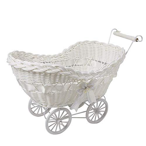 SAFRI LARGE BABY PRAM HAMPER WICKER BASKET BABY SHOWER PARTY GIFTS BOYS GIRLS NEW BORN (White)