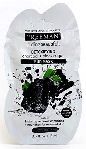 Lot de 6 pièces Freeman masque visage detox en boue Charbon + Sucre noir 15ml pour peau normale, mixte
