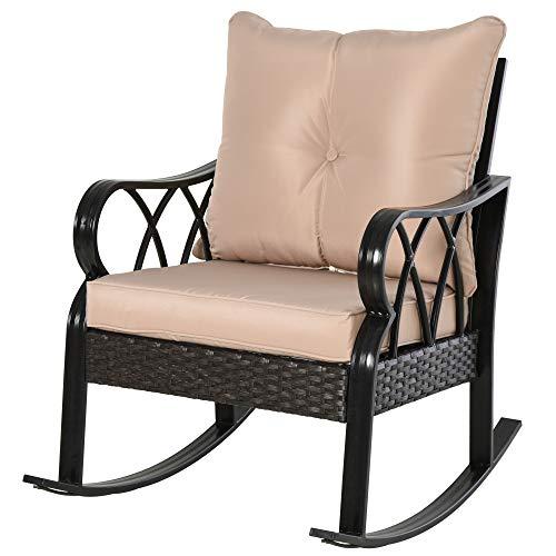 Outsunny Rocking Chair Fauteuil à Bascule Grand Confort Style Cosy Coussins Assise Dossier déhoussable Beige résine tressée Imitation rotin Noir