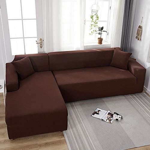 Fsogasilttlv Funda de sofá Marrón Oscuro 4 plazas, Fundas de sofá Todo Incluido de Color sólido, Fundas de sofá elásticas, Toalla de sofá, Fundas de sofá de Esquina Chaise General 235-300cm 1 PCS