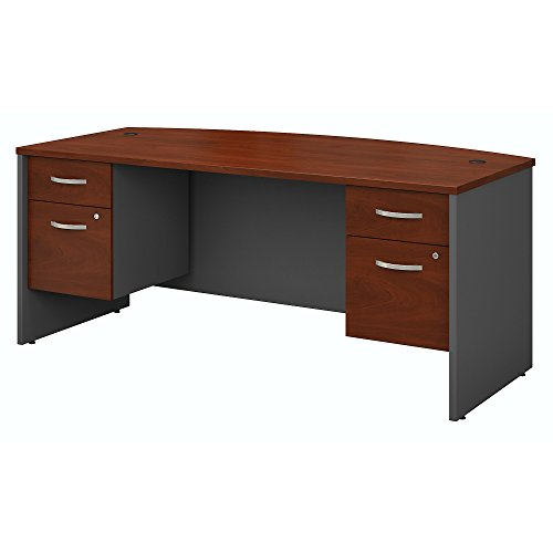 Bush Business Furniture Series C 72W x 36D Bow Front Desk with 3/4 Pedestals in Hansen Cherry