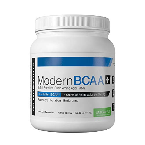 Modern BCAA+ Essential Amino Acid (EAA) Branched Chain Amino Acid (BCAA) Muscle Recovery Supplement Powder Drink Mix, Green Apple - 30 Servings