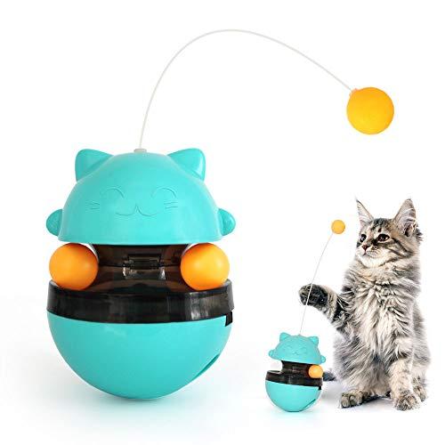 SONGWAY Interaktives Futterspender Katzenspielzeug mit Trackball – Snackball für Katzen zum Langsamen Füttern, Futterball mit Verstellbare Öffnung, Tumbler Spielzeug für Katzen