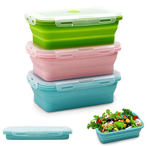 4177VhPN0wL. SS500  - Silicone Food Storage Containers with Lids - 3 Pack Set 800ml Collapsible Meal Prep Lunch Containers Bento Boxes…
