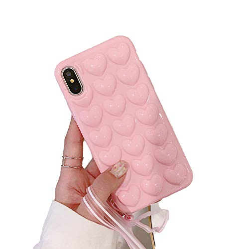 NDJqer 3D Love Heart Phone Case for iPhone 11 Pro X XS Max XR Cartoon Cases for iPhone 7 8 Soft TPU Cover with Lanyard-Pink-for iPhone 7 Plus