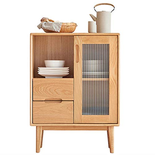 QinWenYan Aparador Aparador Simple Sala de Estar Cabineta de té Puerta corredera Cocina Armario de gabinete para la Entrada (Color : Natural, Size : 60x40x80cm)