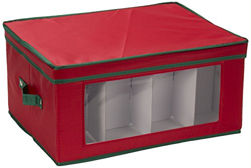 Household Essentials 542RED Holiday China Storage Chest with Lid and Handles | Balloon Goblet Wine Glasses | Red Canvas with Green Trim, Red & Green
