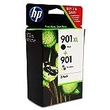HP 901XL/901 SD519AE pack de 2, haut rendement, cartouches d'encre Authentique, imprimantes HP OfficeJet, trois couleurs (Cyan, Magenta et Jaune)