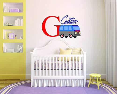 Muurschildering Gepersonaliseerde Naam Bus Baby BoyRoom Kwekerij - Muurschildering Sticker voor Thuis Slaapkamer (177) Eenvoudig aan te brengen