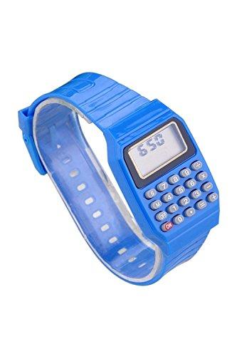Armbanduhr - SODIAL(R) Jungen Maedchen Silikon Datumsanzeige elektronische Uhr Multifunktions Rechner Uhr Taschenrechner Uhr Fuer Kinder Blau