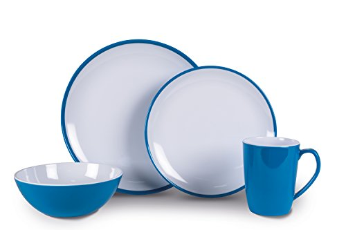 Kampa Service de pique-nique en mélamine 16 pièces Bleu vif