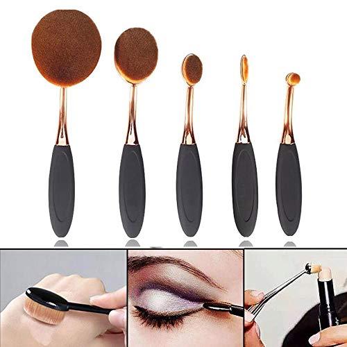 MEIMEIDA Ensemble de pinceaux de maquillage noirs/roses Poudre de base Definer Shader Pinceaux de base pour l'or Kit professionnels de pinceaux de base poudrés, Rose doré