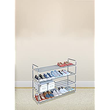 Grey 4-Tier Shoe Rack Shoe Tower Shelf Storage Organizer Cabinet