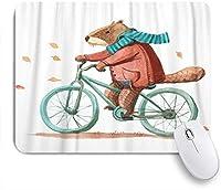 NIESIKKLAマウスパッド 自転車に乗るコートとスカーフのビーバー ゲーミング オフィス最適 高級感 おしゃれ 防水 耐久性が良い 滑り止めゴム底 ゲーミングなど適用 用ノートブックコンピュータマウスマット
