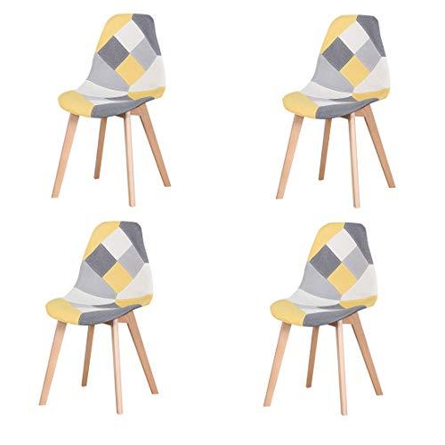 N/A Juego de 4 sillas de comedor, tapizado patchwork retro, comedor, cocina, dormitorio, silla de oficina (amarillo)