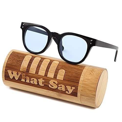 What Say ボストン フレーム カラーレンズ サングラス クリアレンズ 伊達メガネ UV400 メンズ レディース ソフト & ハードケース (ライトブルー/クロ)