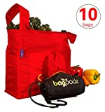 BagPodz Reusable Shopping Bags – Includes 10 Foldable Bags Inside a Compact Pod with Carry Cl…