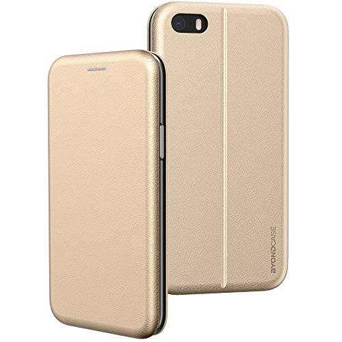 BYONDCASE iPhone SE 2016 Hülle Gold, iPhone 5s Hülle, iPhone 5 Handyhülle [Deluxe Leder Flip-Case Klapphülle] Fullbody 360 Grad Rundumschutz kompatibel mit dem iPhone 5s / 5 / SE2016