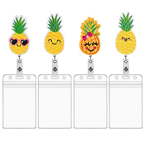 4pcs Pineapple Badge Reels Retractable Holder and 4pcs ID Card Holders Set, Felt Embroidered with Alligator Swivel Clip Cute Name Card Holder for Nurse Volunteer Student Doctors Office Worker(Style1)