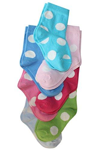 Weri Spezials Wochenset (7-Paar) Kindersocken Riesen Punkte (hell blau, gruen, dunkel rosa, pink, rosa, tuerkis, mittelblau) Gr.19-22 (12-24 Monate)