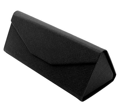TBOC Faltbar Brillenetui für Sonnenbrille - [Schwarz] Hartschale [Dreieckige] Tasche mit [Magnetverschluss] Innenfutter für Lesebrille Sportbrille Groß Modern Leicht Design Auto Tasche Damen Herr Kind
