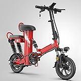 0℃ Outdoor Bici Eléctrica de Montaña para Desplazamientos, Bicic Eléctrica 48V, Bicicleta Eléctrica 12 Pulgadas de Asistencia Eléctrica Plegable de Ciclomotor E-Bike Alcance,Red1,11AH