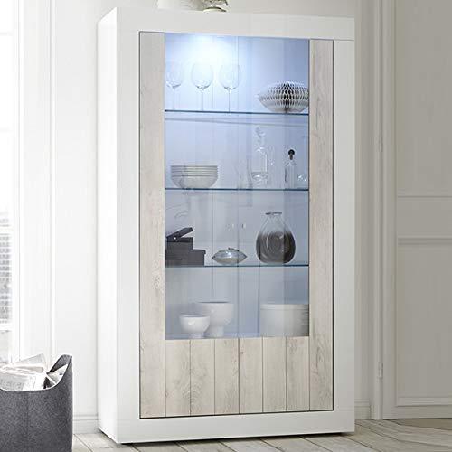 Urban 3 Geschirrschrank, lackiert, modernes Design, 110 x 190 cm, 2 Türen Sans éclairage weiß