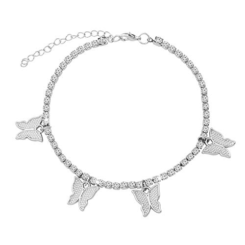 FAADBUK Butterfly Anklet Tennis Chain Butterfly Anklet Bling Iced Out Zirconia Hip Hop Butterfly Anklet Good Luck Butterfly Gifts for Women Girls