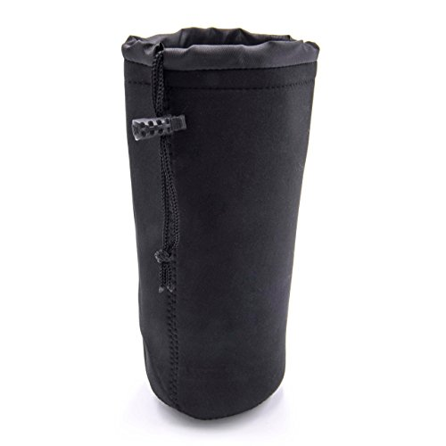 vhbw Beutel kompatibel mit Objektive - Hülle mit Kordel, 20 cm x 10 cm, XL, Schwarz