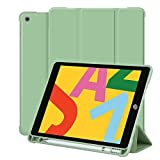 iPad 8th Generation/7th Gen Case with Pencil Holder, 10.2 Inch iPad Case for Kids, Slim Trifold Stand Full Body Protective Smart Cover for iPad 8 Gen 2020 & 7 Gen 2019 - Green