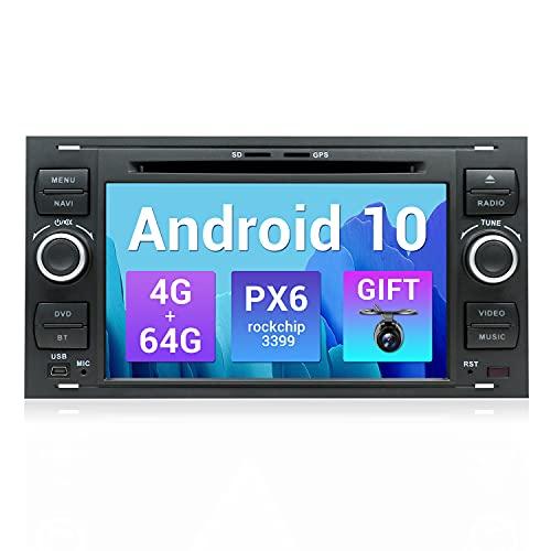 SXAUTO PX6 Android 10 Autoradio Compatibile Ford C-Max/Fiesta/Focus/Fusion/Galaxy/Kuga/S-Max/Transit/Mondeo - [4G+64G] - Camera GRATUITI - 2 Din - Supporto DAB HDMI 4K-Video Volante 4G WiFi Carplay BT