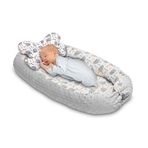 Babyakes – Verkleinerer für Neugeborene – Reisestuhl – 100% Baumwolle – Babybett – Schlafsack – reduzierte Babywanne – Nestchen – mit Anti-Erstickungs-Kissen (grau)