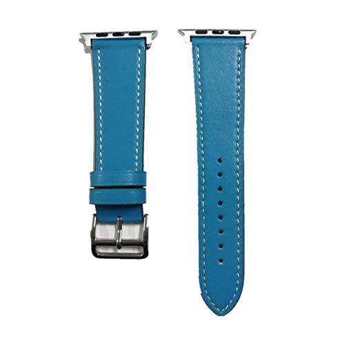 Correa de puño para Apple Watch Band 44 mm 42 mm 40 mm 38 mm Pulsera de cuero Cinturón para IWatch Series 5 4 3 2 1 Reemplazo de correa de reloj, azul, para 42 mm 44 mm