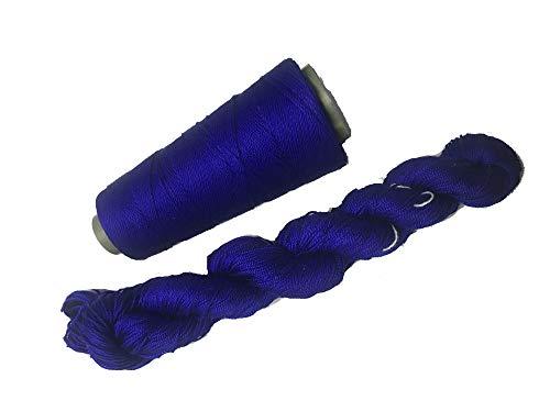 Knitsilk 3-lagiges Maulbeerseide-Garn, einfarbig, 50 g, 220 Meter, ideal zum Stricken, Häkeln, Weben, Tapisseriebe; Königsblau