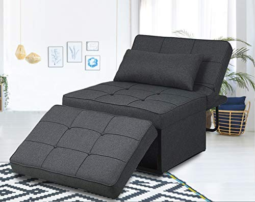 Folding Ottoman Sofa Bed, Convertible Chair 4 in 1 Multi-Function Modern Breathable Linen Guest Bed with 5 Position Adjustable Backrest,Convertible Guest Fold Out Bed Convertible Sofa (Dark Grey)
