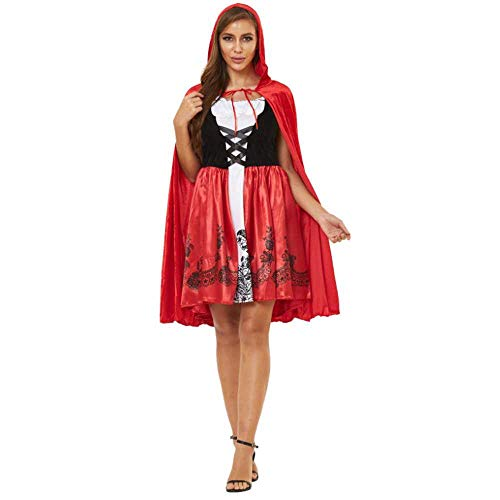 S-XXXL Mujeres Adultas Cuento de Hadas Pequea Caperucita Roja Traje Femenino Cosplay Vestidos Rojos Capa de Fiesta de Fantasa Vestido de Halloween